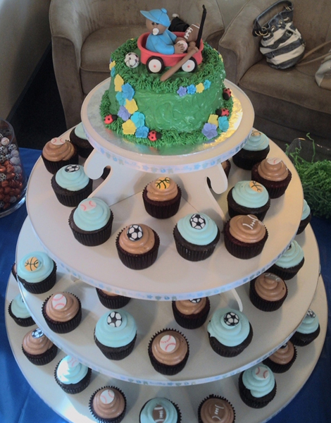 Sports Baby Shower Cupcake Tower
