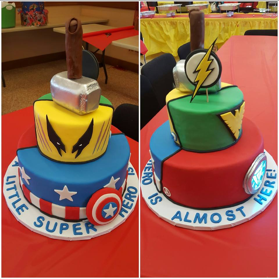 Superhero Baby Shower Cake