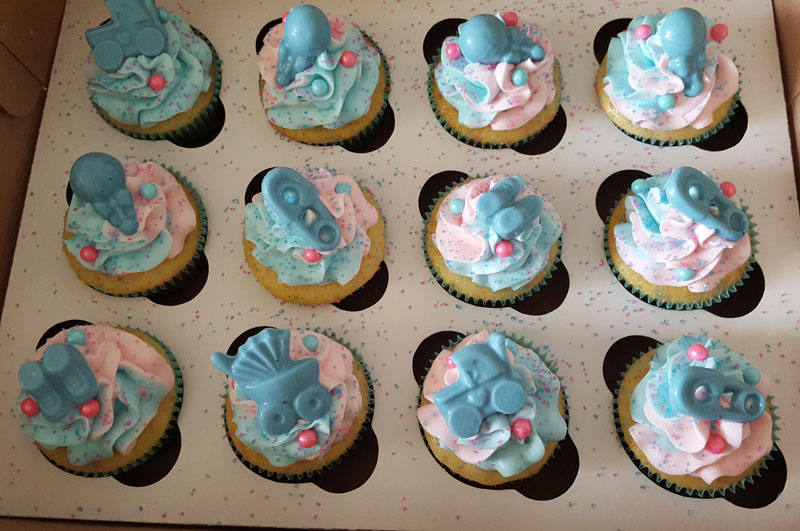 Blue & Pink Baby Shower Cupcakes