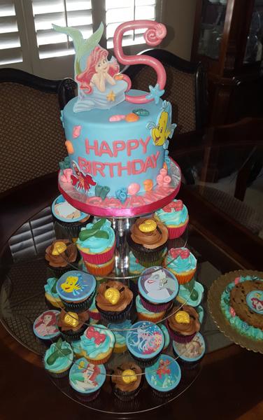 Ariel Cake & Cupcake Tower