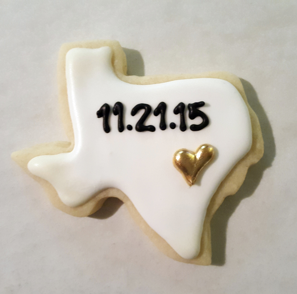 Texas Wedding Date Cookies