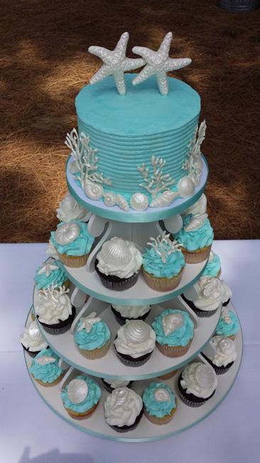 Starfish Buttercream Cupcake Tower