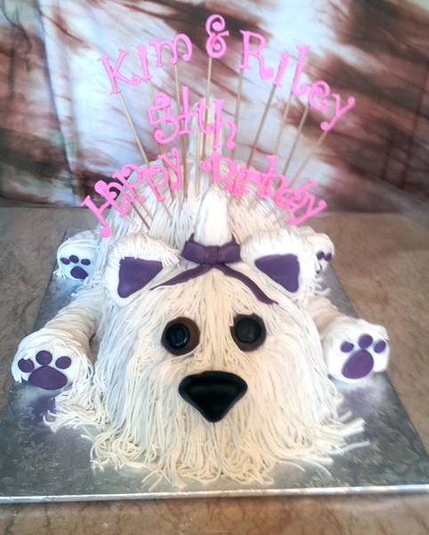 3D Fondant Shaggy Dog Cake