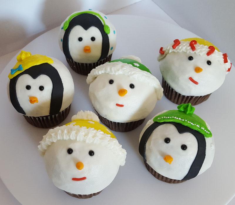 Penguin & Snowman Cupcakes