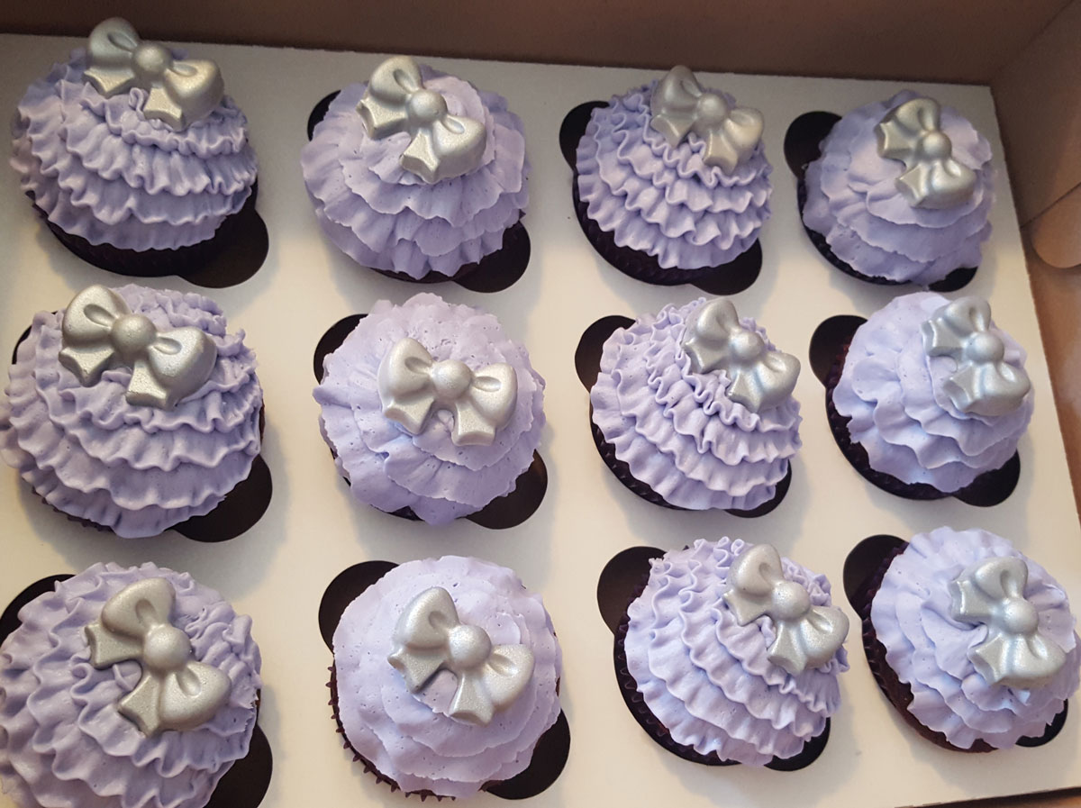 Baby Shower Violet Cupcakes