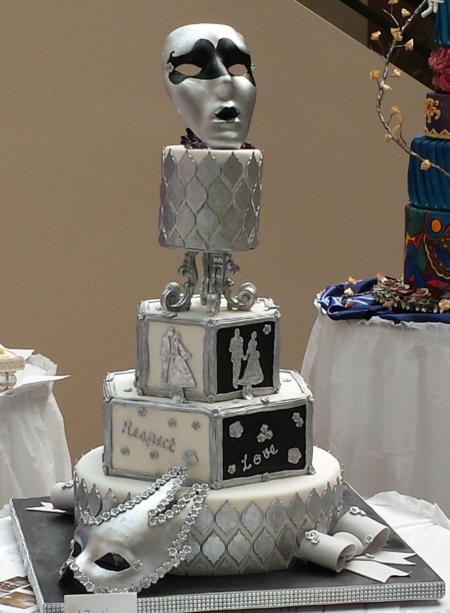 Silver Mask Fondant Cake